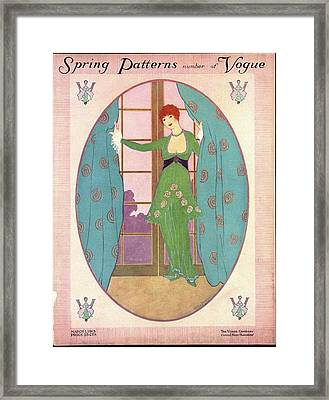 Vogue Cover Illustration Of A Woman In A Green Framed Print by Helen Dryden