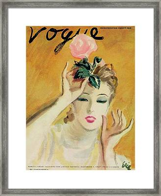 Vogue Cover Of A Woman With Rose Framed Print by Carl Oscar August Erickson