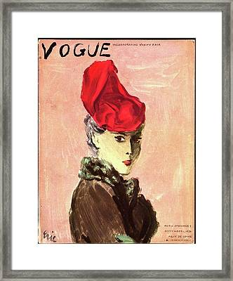 Vogue Cover Illustration Of A Woman Wearing A Red Framed Print by Carl Eric Erickson