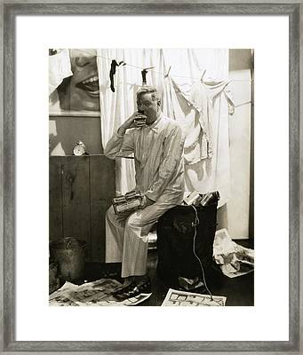 W. C. Fields Wearing Pyjamas Framed Print by Edward Steichen