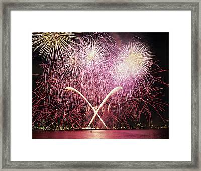 Wa, Seattle, Fireworks On July 4th Framed Print