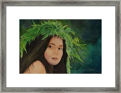 Wahine In Haku Framed Print by Luane Penarosa