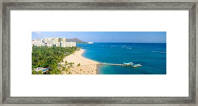 Waikiki Beach And Diamond Head Framed Print