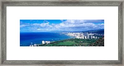 Waikiki Honolulu Oahu Hi Usa Framed Print by Panoramic Images