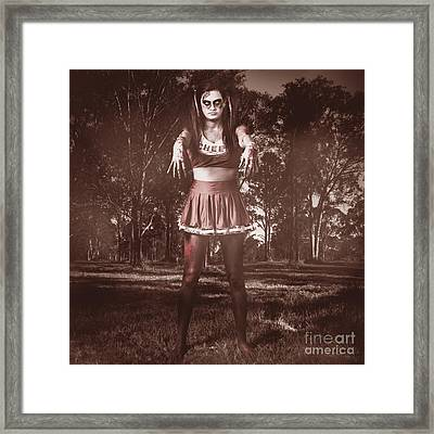 Walking Dead Schoolgirl Stumbling Back To School Framed Print