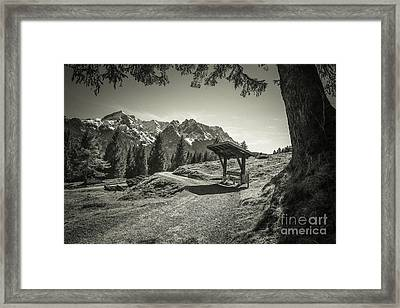 walking in the Alps - bw Framed Print by Hannes Cmarits