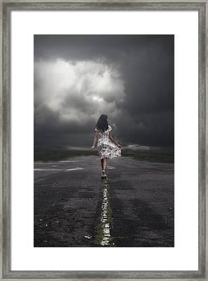 Walking On The Street Framed Print