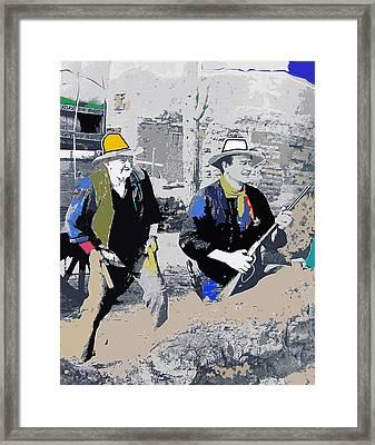 Walter Brennan And John Wayne Publicity Photo Rio Bravo Old Tucson Arizona 1959-2013 Framed Print by David Lee Guss