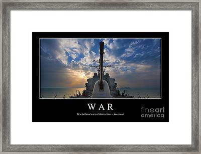 War Inspirational Quote Framed Print by Stocktrek Images