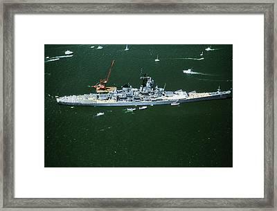War Ship In New York Harbor, New York Framed Print