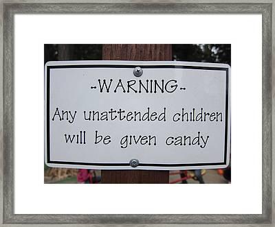 Warning Unattended Children Framed Print by Shane Kelly