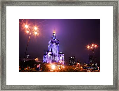 Warsaw Poland Downtown Skyline At Night Framed Print by Michal Bednarek