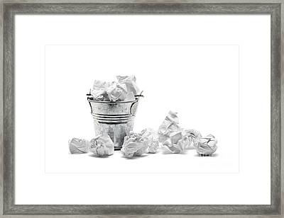 Waste Basket With Crumpled Papers Framed Print by Shawn Hempel