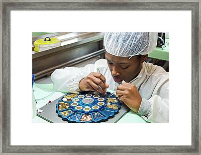 Watch Factory Production Worker Framed Print by Jim West