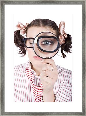 Watchful Business Woman Performing System Audit Framed Print by Jorgo Photography - Wall Art Gallery