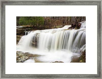 Water Falling From Rocks In A Forest Framed Print by Panoramic Images