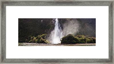 Water Falling From Rocks, Milford Framed Print