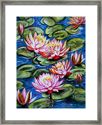 Framed Print featuring the painting Water Lilies by Harsh Malik