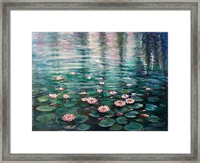 Framed Print featuring the painting Water Lilies by Laila Awad Jamaleldin