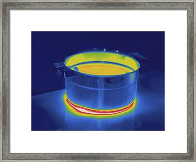 Water On Stove, Thermogram Framed Print by Science Stock Photography