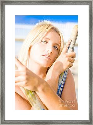 Water Sport Woman Holding Oars Framed Print