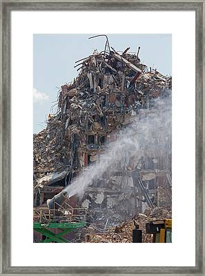Water Spraying At Demolition Site Framed Print