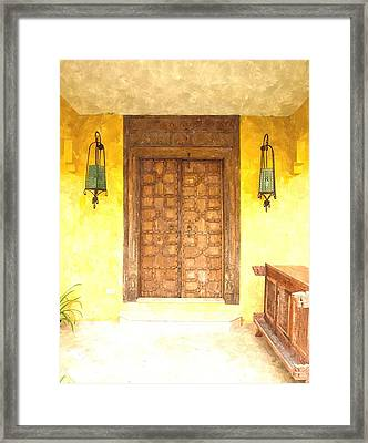 watercolor of antique Moroccan style wooden door  on yellow wall Framed Print