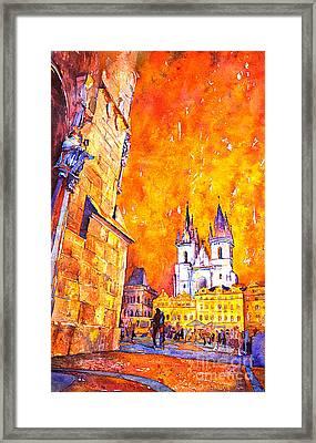 Watercolor Of Prague Sunrise Framed Print by Ryan Fox