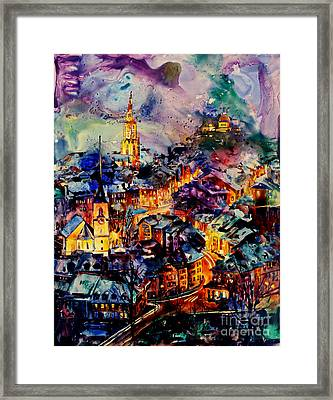 Watercolor On Yupo Synthetic Paper Of Bern Switzerland Framed Print by Ryan Fox