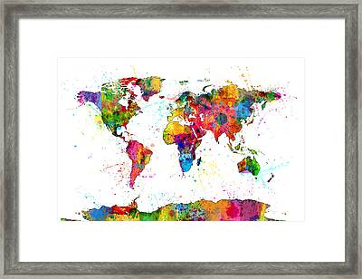 Watercolor Political Map Of The World Framed Print by Michael Tompsett