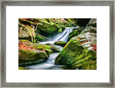 Waterfall Great Smoky Mountains Painted Framed Print