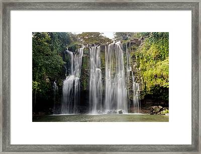 Waterfall In A Forest, Llanos De Cortez Framed Print