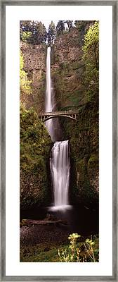 Waterfall In A Forest, Multnomah Falls Framed Print by Panoramic Images