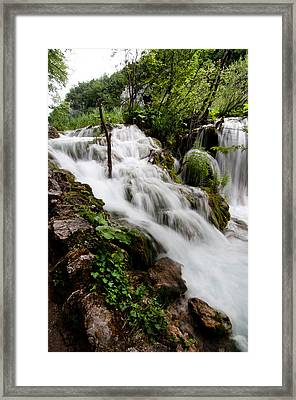 Framed Print featuring the photograph Waterfall In Plitvice by Laura Melis