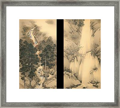 Waterfall In Spring And Autumn Framed Print by Mountain Dreams