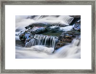 Waterfalls Mcdonald Creek Falls Glacier National Park  Framed Print by Rich Franco
