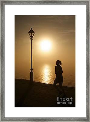 Waterfront Sidewalk In The Golden Morning Dawn Framed Print