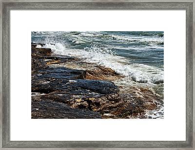 Waves Break On The Rocks. Framed Print by Alexandr  Malyshev