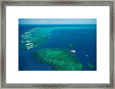 Waves Breaking On Great Barrier Reef Framed Print