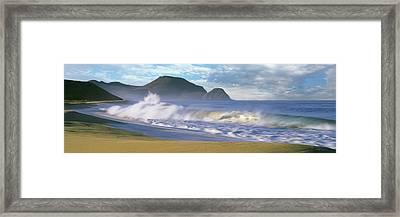 Waves Breaking On The Beach, Playa La Framed Print
