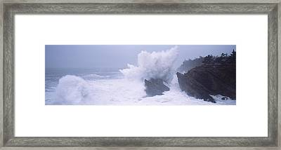 Waves Breaking On The Coast, Shore Framed Print by Panoramic Images