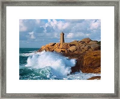 Waves Crashing At Ploumanach Framed Print