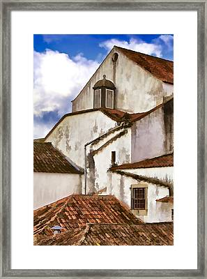 Weathered Buildings Of The Medieval Village Of Obidos Framed Print