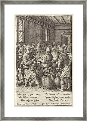 Wedding At Cana, Hieronymus Wierix Framed Print by Hieronymus Wierix