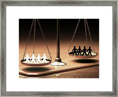 Weighing Scales With People Framed Print by Ktsdesign
