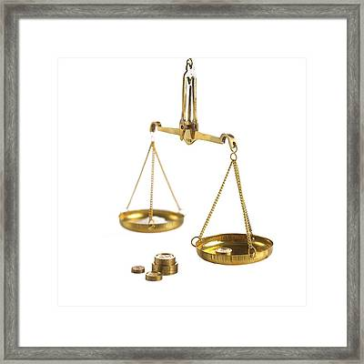 Weighing Scales With Weights Framed Print by Science Photo Library