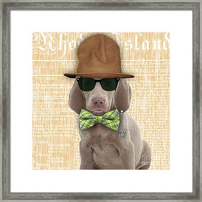 Weimaraner Bowtie Collection Framed Print by Marvin Blaine