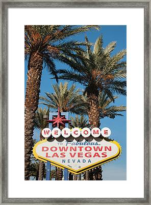 Welcome To Downtown Las Vegas Sign, Las Framed Print by Michael Defreitas