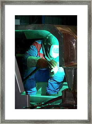 Welding In Train Construction Framed Print