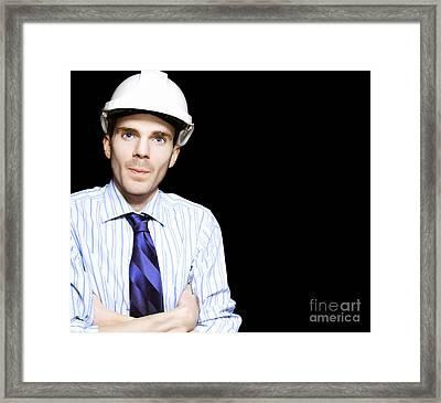Well Dressed Engineer Isolated On Black Background Framed Print
